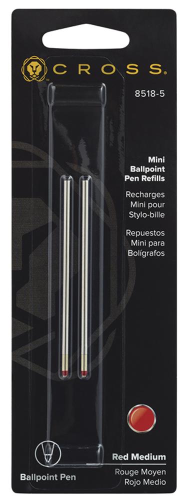 Купить Стержень (2 шт) шариковый для ручки Tech3+ Tech4 средний (красный) CROSS 8518-5, Стержень шариковый, Красный