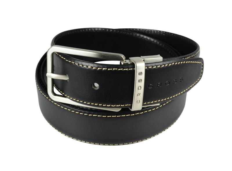 Купить Ремень Cross Pamplona Black, односторонний, кожа гладкая, цвет чёрный с бежевой строчкой, 126 х 3, 5 см, AC418494NF
